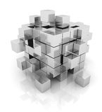Cube silver geometry abstract background Stock Photo