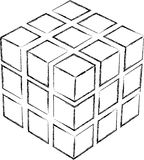 Cube sketch. Black on white background Royalty Free Stock Photo