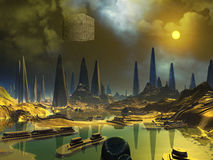 Cube Space Craft over Alien Water World Royalty Free Stock Image