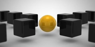 Cube & Sphere. Gray background, 3d render Stock Photography