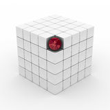 Cube with sphere on a white background. 3D image Stock Photography