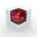 Cube with sphere on a white background. 3D image Stock Photos