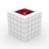 Cube with sphere on a white background. 3D image Royalty Free Stock Photography