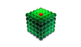 Cube Of Spheres. Three Dimensional Cube Made Up Of 125 Spheres Stock Photos
