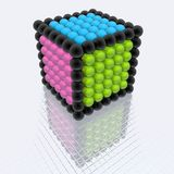 Cube of spheres. (hires 3d image Stock Images