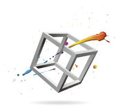 Cube. Splash with abstract, impossible figure for decoration Royalty Free Stock Image