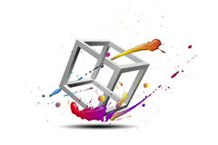 Cube. Splash with abstract, impossible figure for decoration Royalty Free Stock Images