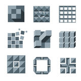 Cube, square and pixel logo vector set. Creativity idea icons. Square pixel logo, geometric pixel cube element, modern creative pixel structure illustration Stock Photos