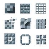 Cube, square and pixel logo vector set. Creativity idea icons Stock Photos