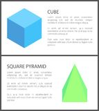 Cube and Square Pyramid Figures Isolated on White. Vector illustration, blue and green figure samples, black text and frame, squares and triangles Stock Photos