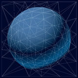Cube square. Vector technology background with lines connected, polygonal wireframe object. Abstract faceted element for use as design structure on communication Royalty Free Illustration