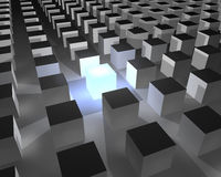 Cube standing out. Illuminated 3d cube surrounded with other cubes stock illustration