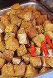 Cube stewed dried tofu closeup i Stock Photography
