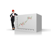Cube with stock chart Royalty Free Stock Image