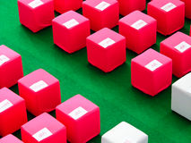 Cube stools. Pink and white cube stools are arranged neatly in an event, labelled with VIP and PRESS Royalty Free Stock Image