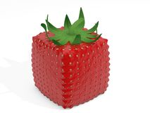 Cube strawberry. 3d cube strawberry - abstract concept Royalty Free Stock Image