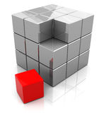 Cube structure. Abstract 3d illustration of box building with blocks, with red one Stock Image