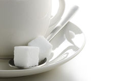 Cube sugar. Closeup of sugar cubes on white background Royalty Free Stock Photography