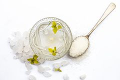 Close up of sugar syrup in a glass bowl along with sugar cubes and some mentha or mint leaves. Cube sugar or crystallized sugar with its syrup and mint leaves stock image
