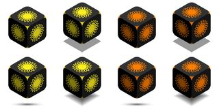 Cube with sun in orange and yellow colors Royalty Free Stock Image