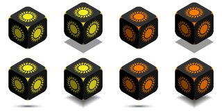 Cube with sun in orange and yellow colors Royalty Free Stock Photo