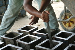 Cube test. Mould of concrete for checking of concrete quality work or compression tests. Stock Image