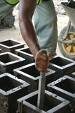 Cube test. Mould of concrete for checking of concrete quality work or compression tests. Stock Photo