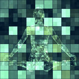 Cube tile background with robot Stock Photo