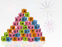 Cube toy with letters  Royalty Free Stock Photos