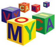 Cube toy with letters vector Stock Images