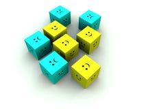 Cube triste et heureux 8 Photos libres de droits