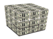 Cube with us dollar notes Stock Photos