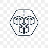 Cube vector icon isolated on transparent background, linear Cube vector illustration