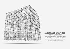Cube, vector illustration. Network connections. Royalty Free Stock Images