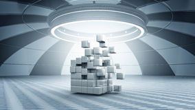 Cube in virtual room. Abstract cube in futuristic room as innovative virtual interior design Stock Illustration