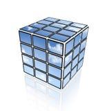 Cube visuel d'écrans plats du ciel TV Images stock