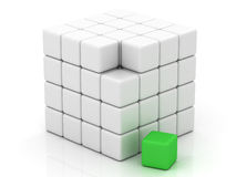 Cube white assembling from blocks Stock Photography