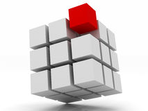 Cube white assembling from blocks Stock Photos