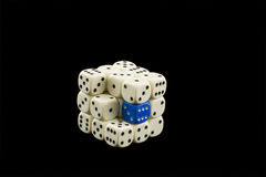 Cube of white dices Royalty Free Stock Image