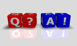 Cube words Q&A Royalty Free Stock Photos
