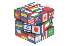 Cube with world flags, 3D rendering. On white background Royalty Free Stock Images