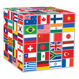 Cube with world flags Royalty Free Stock Image