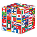 Cube with world flags Royalty Free Stock Images