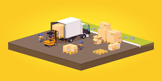 Cube World. Loading or unloading of the cardboard Stock Images