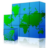 Cube with world map. Illustration of map puzzle on white background Stock Images