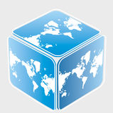 Cube with world map Royalty Free Stock Image
