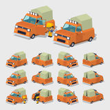 Cube World. Old orange pickup with tent Stock Photos