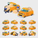 Cube World. Orange pickup truck Stock Photography
