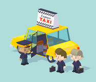 Cube World. Taxi driver invites two people to ride Royalty Free Stock Photography
