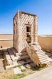 Cube of Zoroaster in ancient necropolis Naqsh-e Rustam in Fars province, Iran. Kaaba of zoroastrians with stairs to the tomb in historic necropolis royalty free stock photo